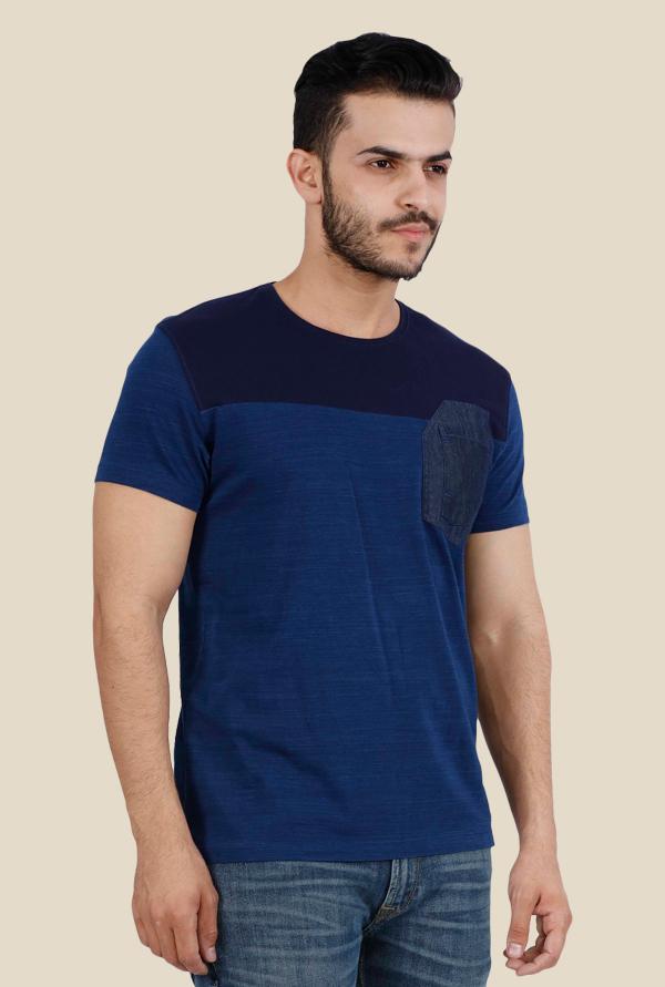 574bc9ba Buy Lee Rock Blue Cotton Solid T-Shirt for Men Online @ Tata CLiQ