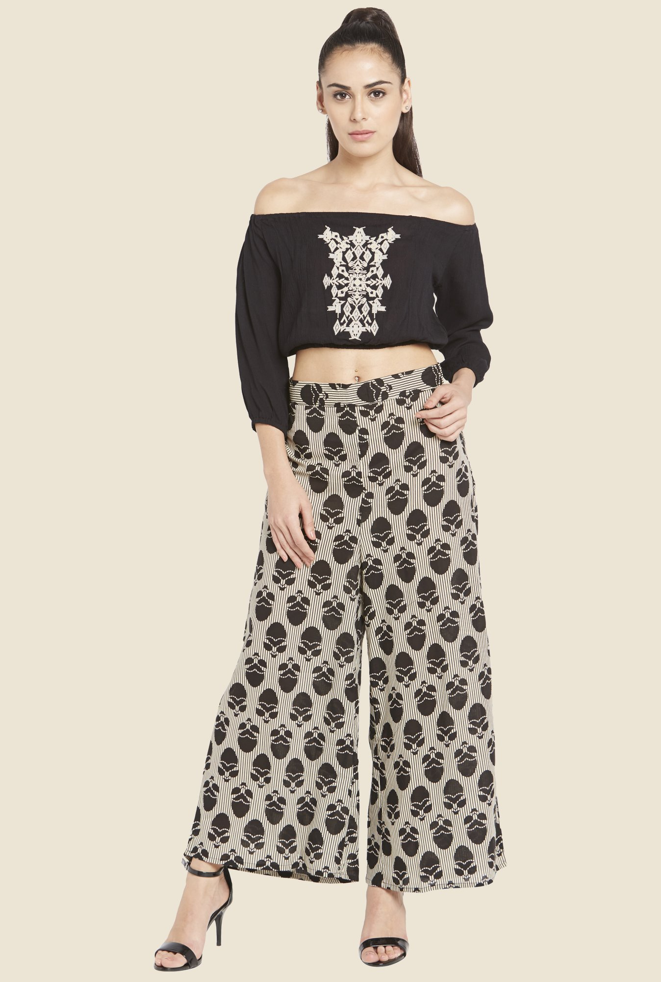 Globus Black Embroidered Crop Top