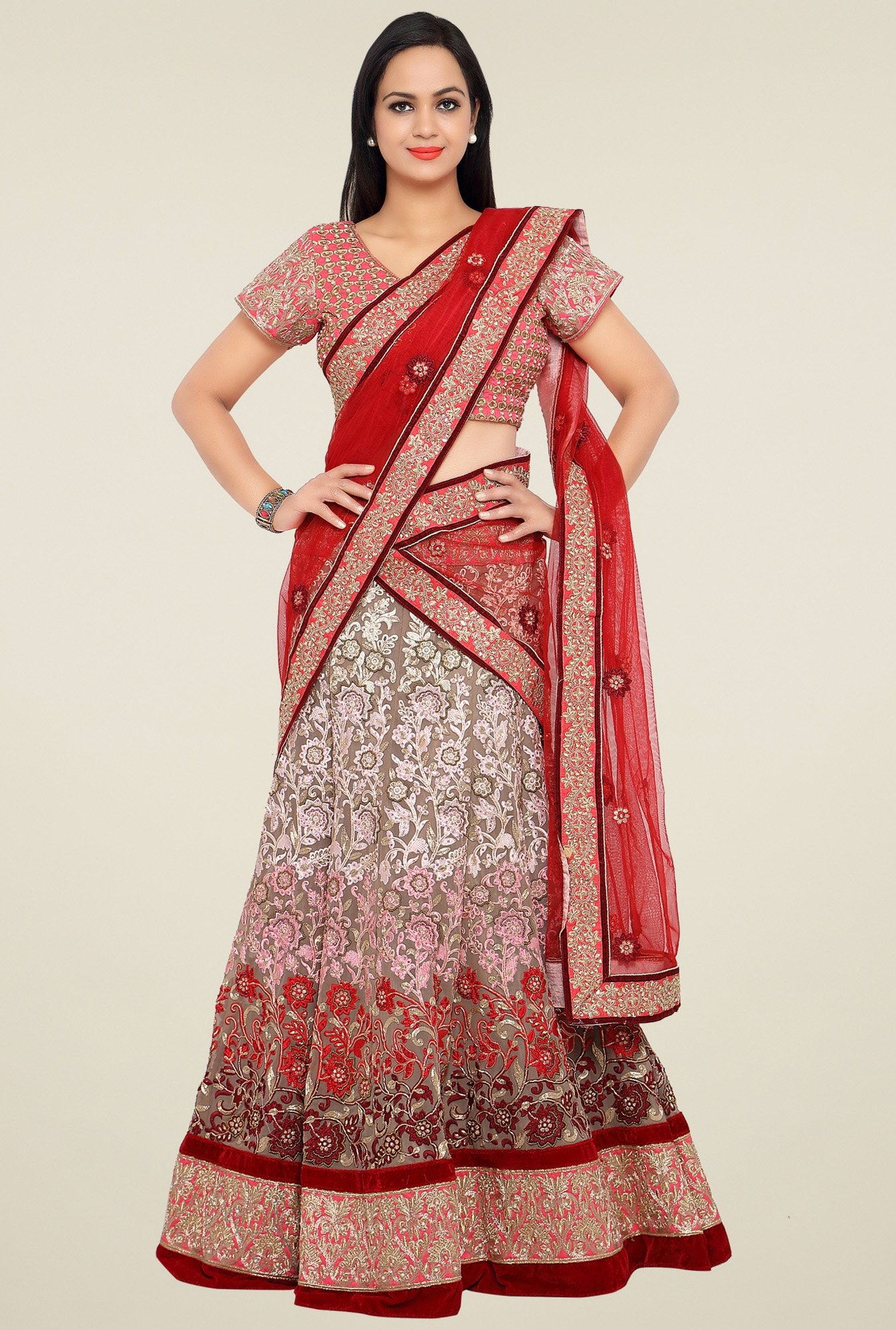 Triveni Multicolor Regular Fit Lehenga Set