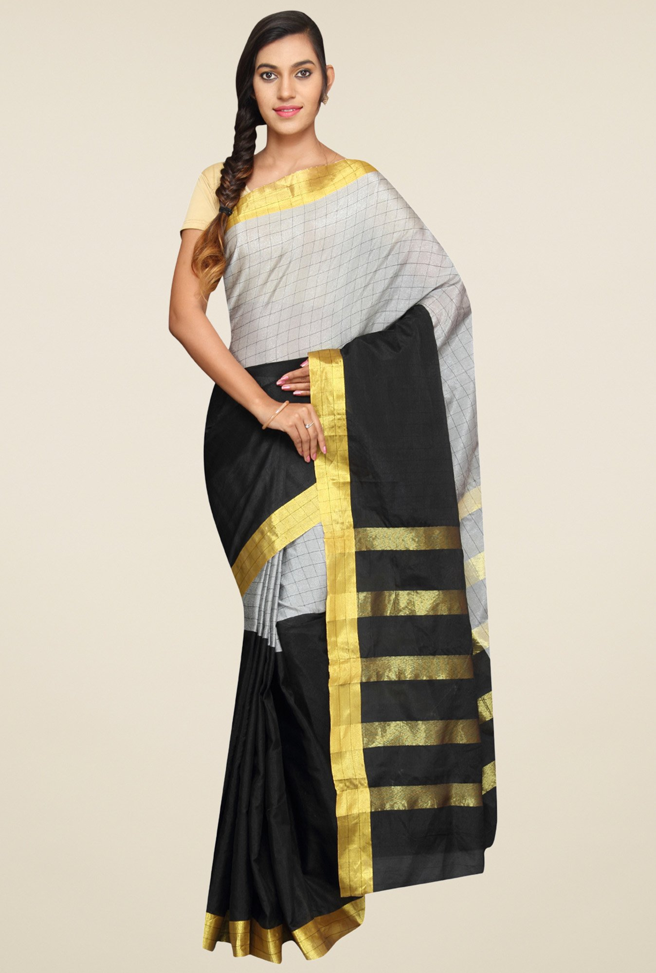 Pavecha Grey Checkered Saree