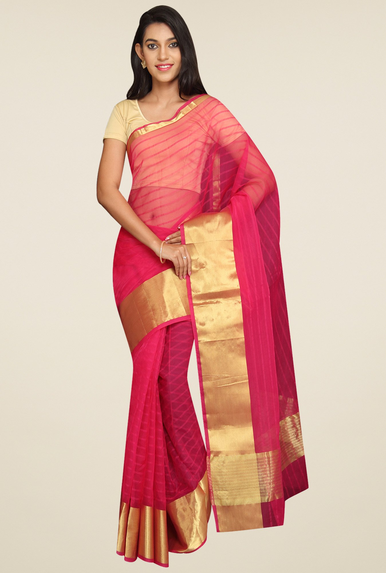 Pavecha Pink Striped Saree
