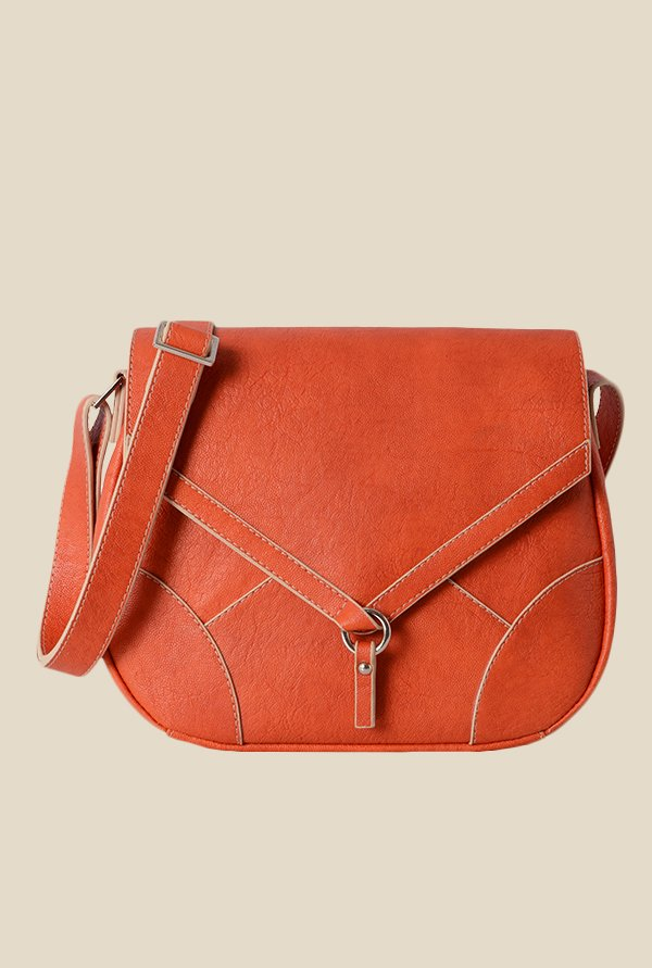 Baggit Renne Gland Orange Synthetic Solid Saddle Sling Bag