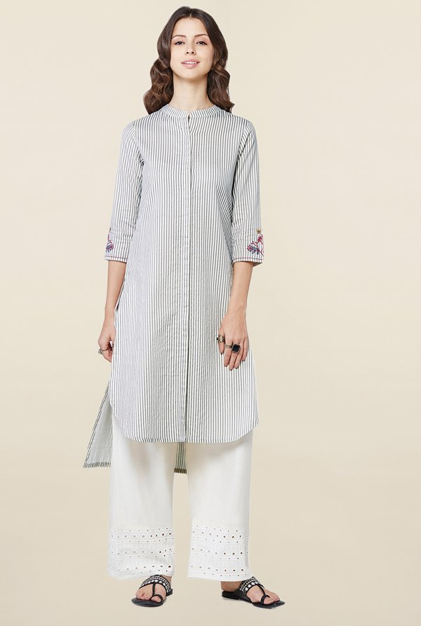 Global Desi Off White Striped Kurti