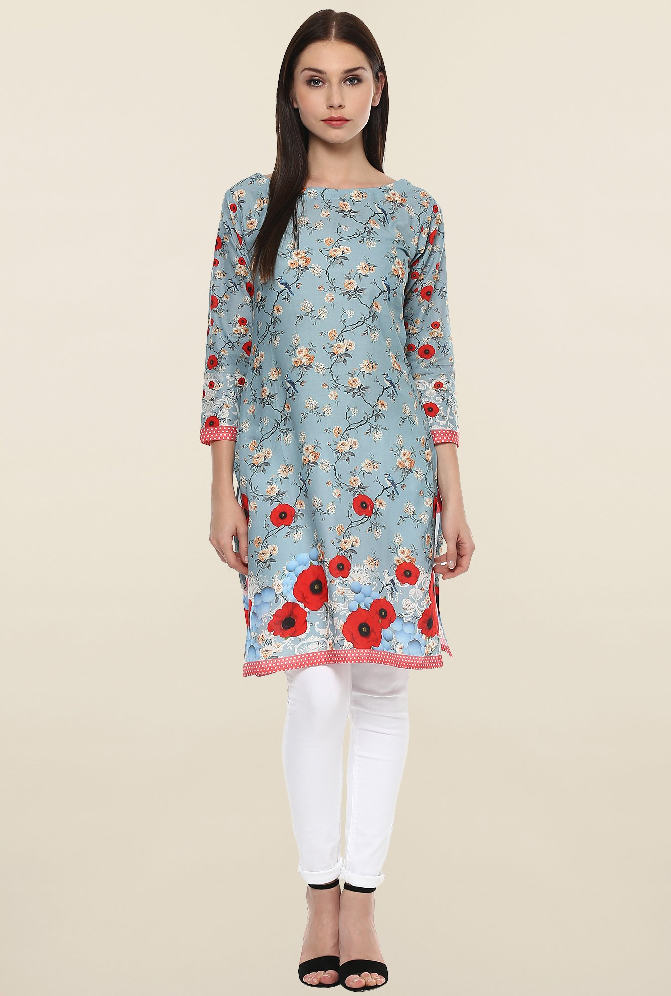Ahalyaa Light Blue Floral Print Cotton Kurti