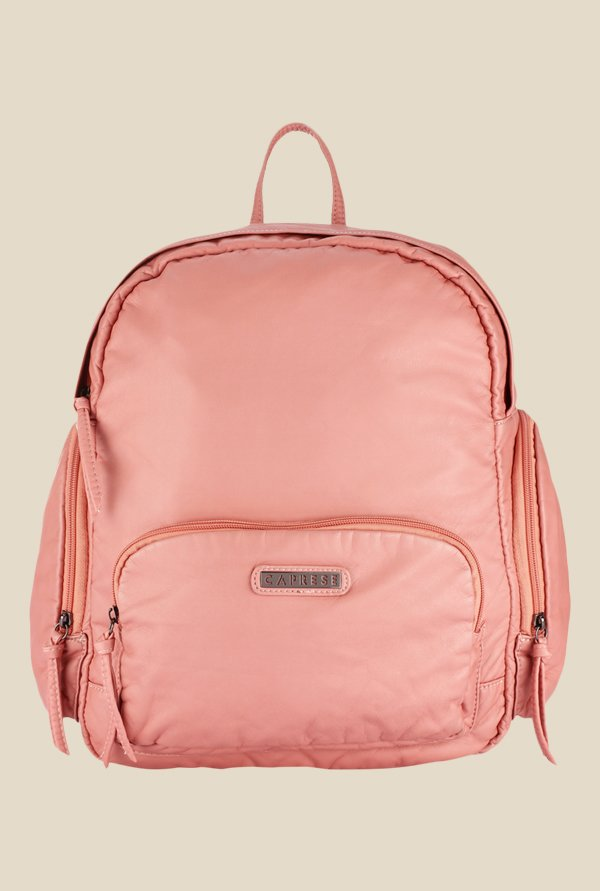 Caprese Lini Peach Solid Backpack