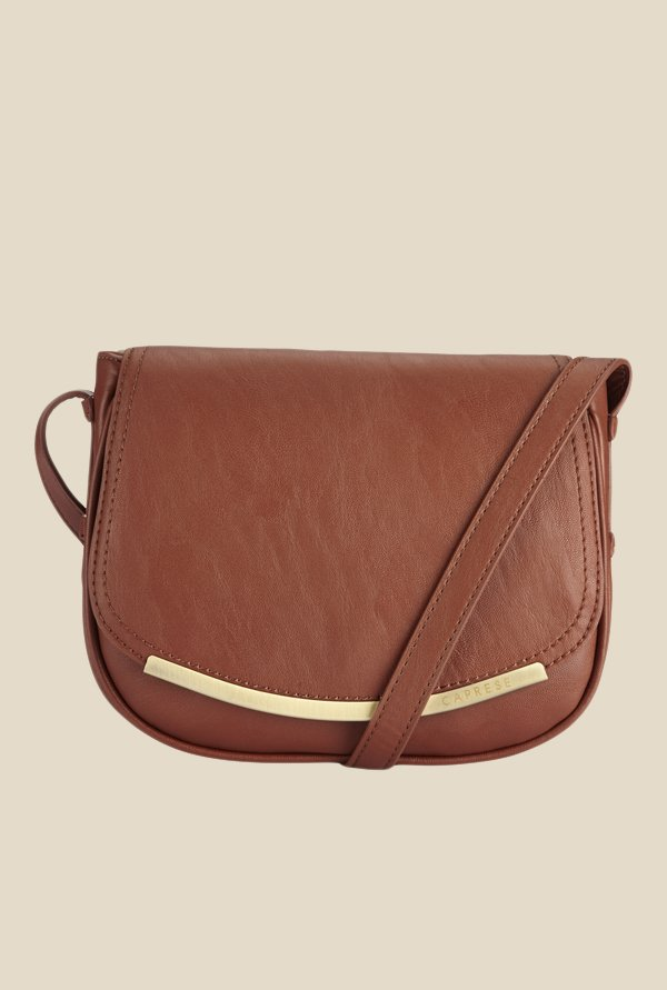 Caprese Helena Saddle Brown Textured Sling Bag