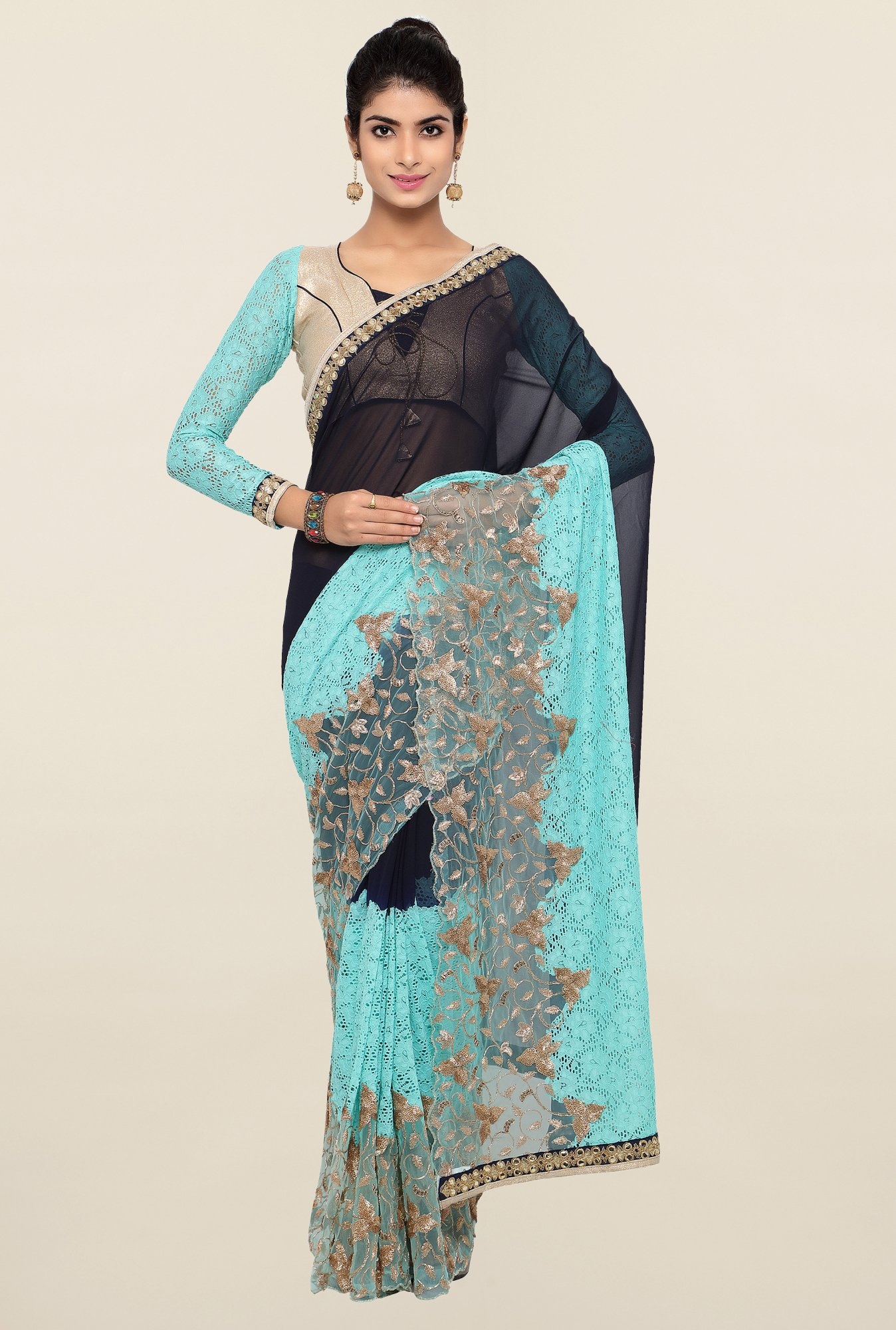 Triveni Blue & Black Embellished Faux Georgette Saree