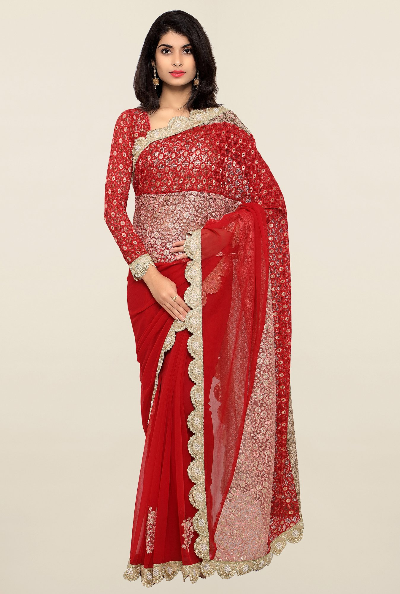 Triveni Maroon Embroidered Chiffon Saree
