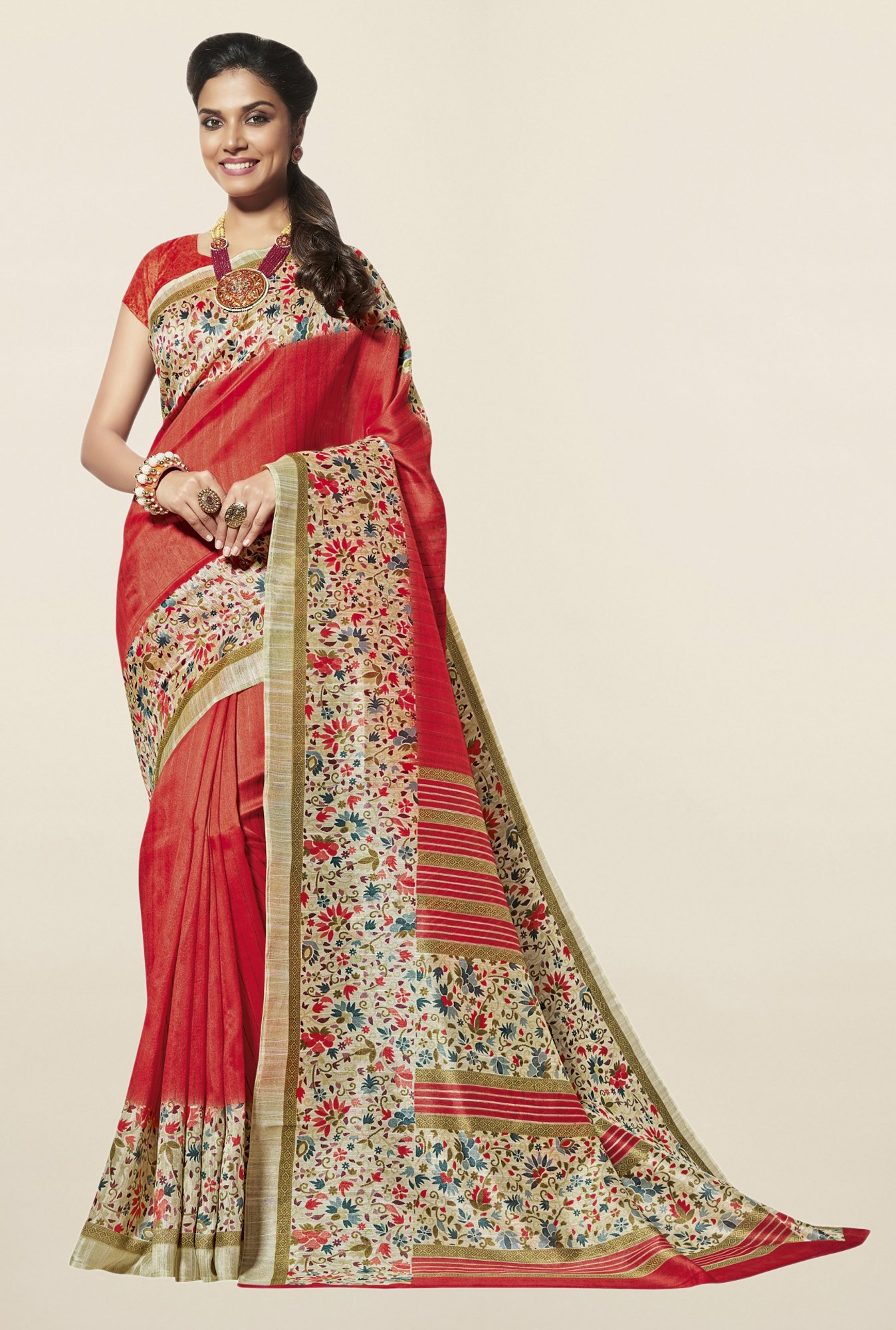 Triveni Rust Striped Art Silk Saree