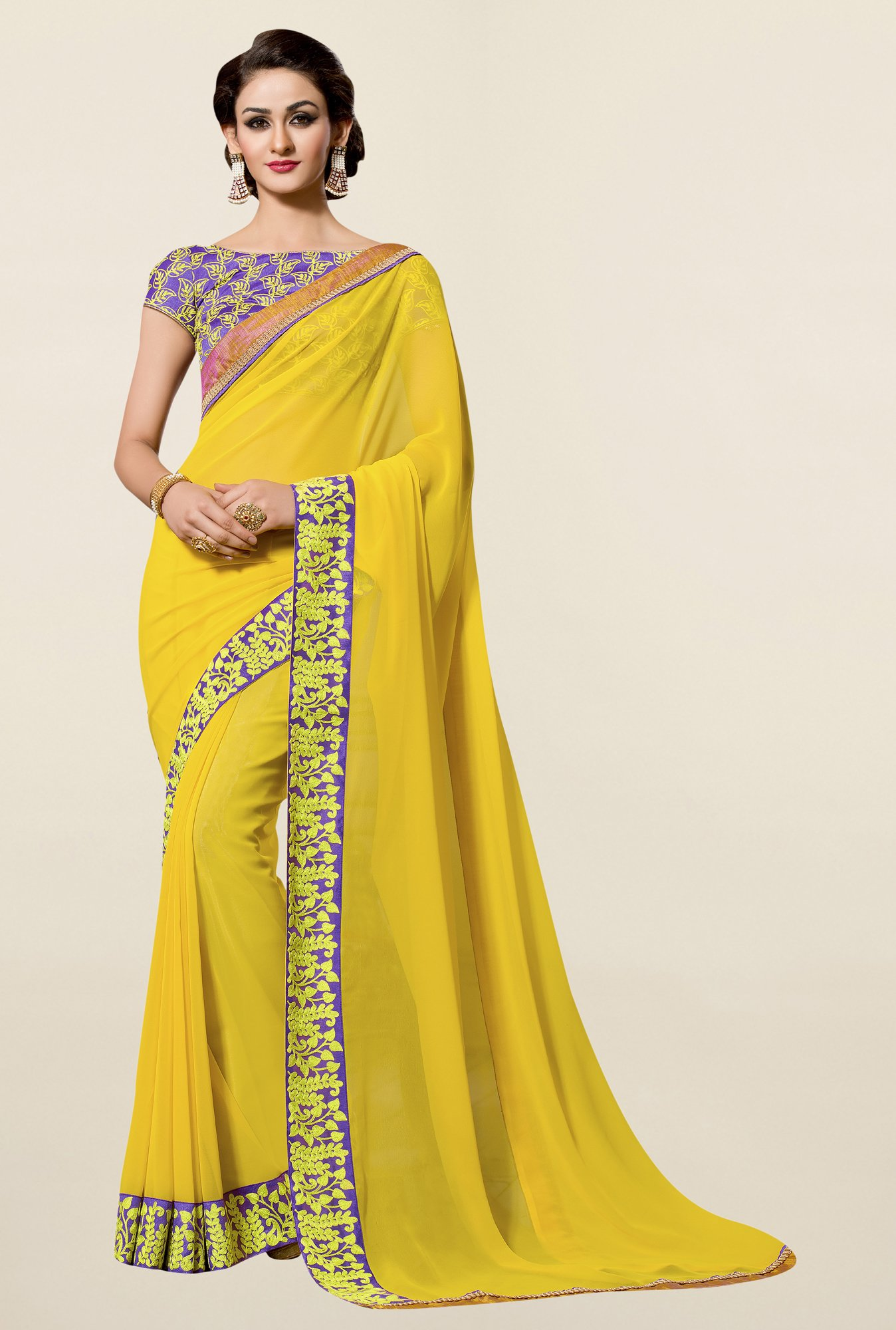 Triveni Yellow Solid Faux Georgette Saree