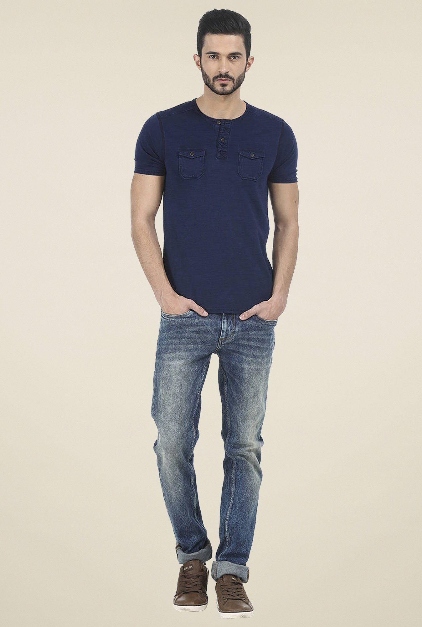 Basics Navy Solid Skinny Fit Jeans