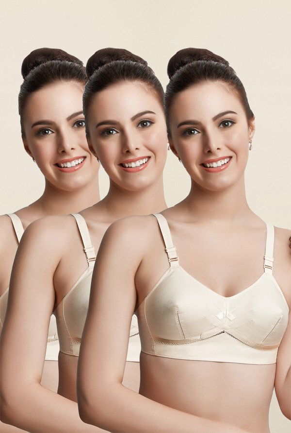 Libertina Beige Princess Non Padded Bra (Pack Of 3)