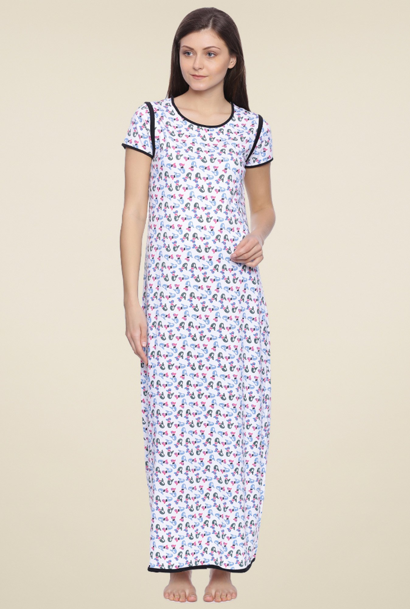 Buy Zivame White Printed Cotton Nighty for Women Online   Tata CLiQ c61644bf78