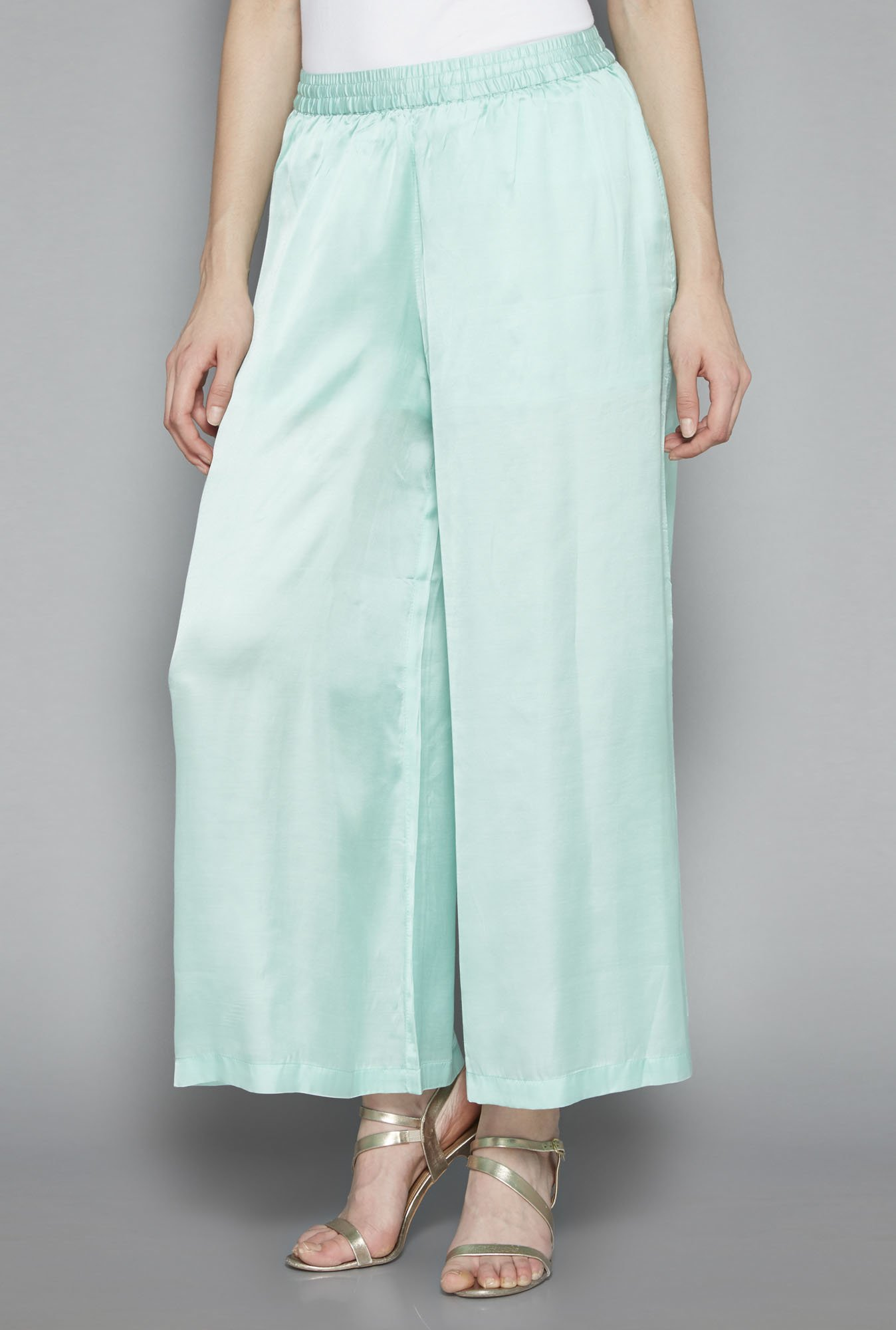 Zuba by Westside Mint Green Satin Palazzos