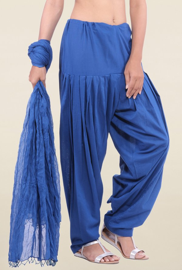 Jaipur Kurti Royal Blue Solid Patiala Salwar With Dupatta