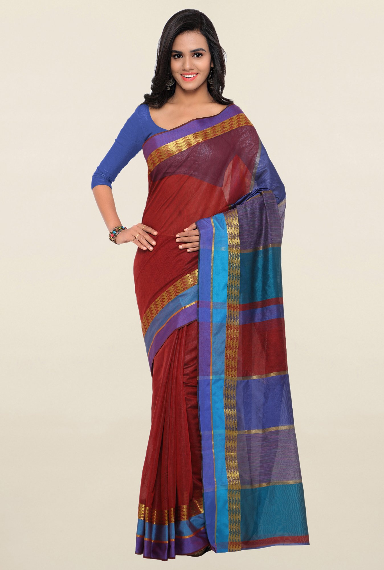 Triveni Red Textured Art Silk Saree