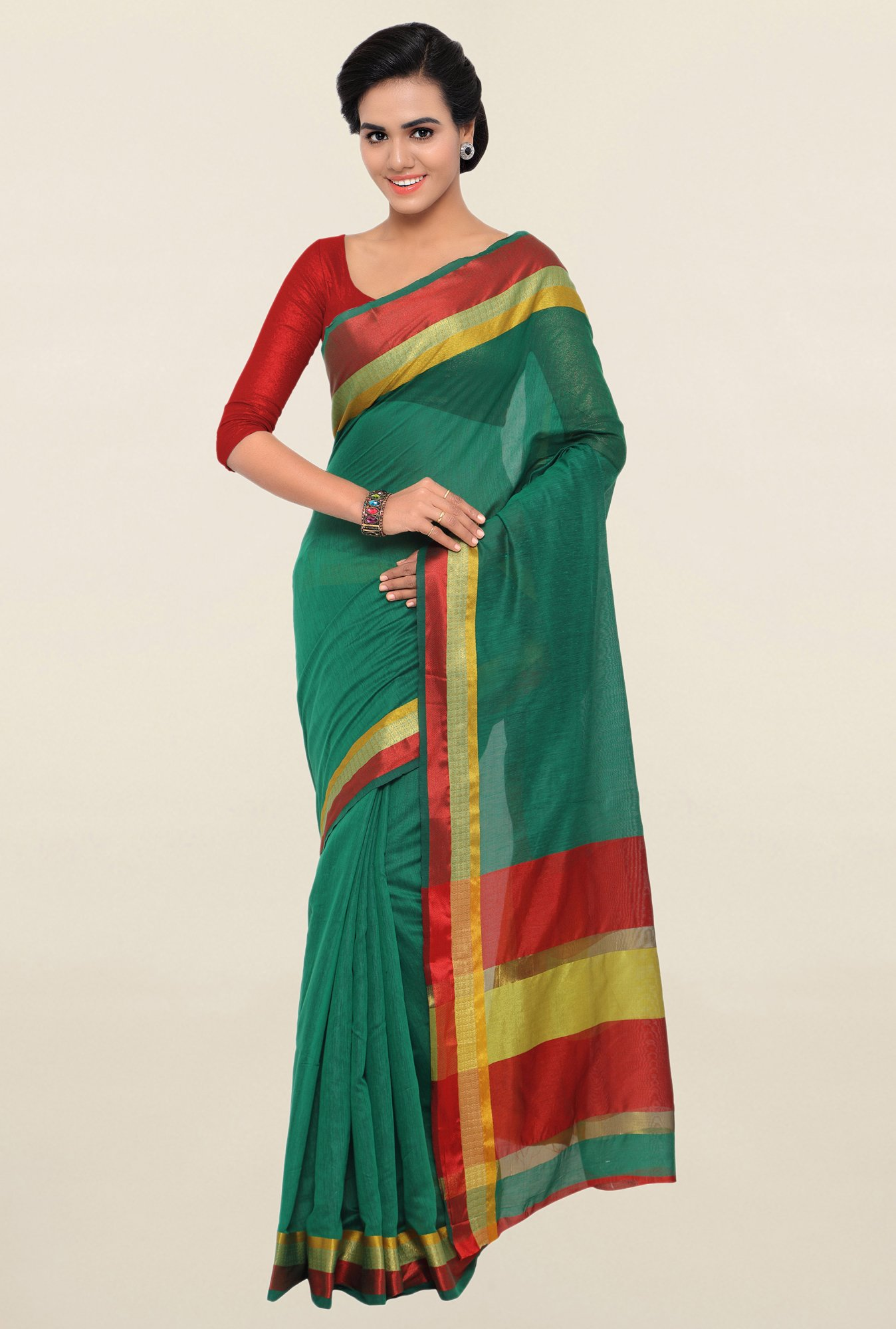 Triveni Green Textured Blended Cotton Saree