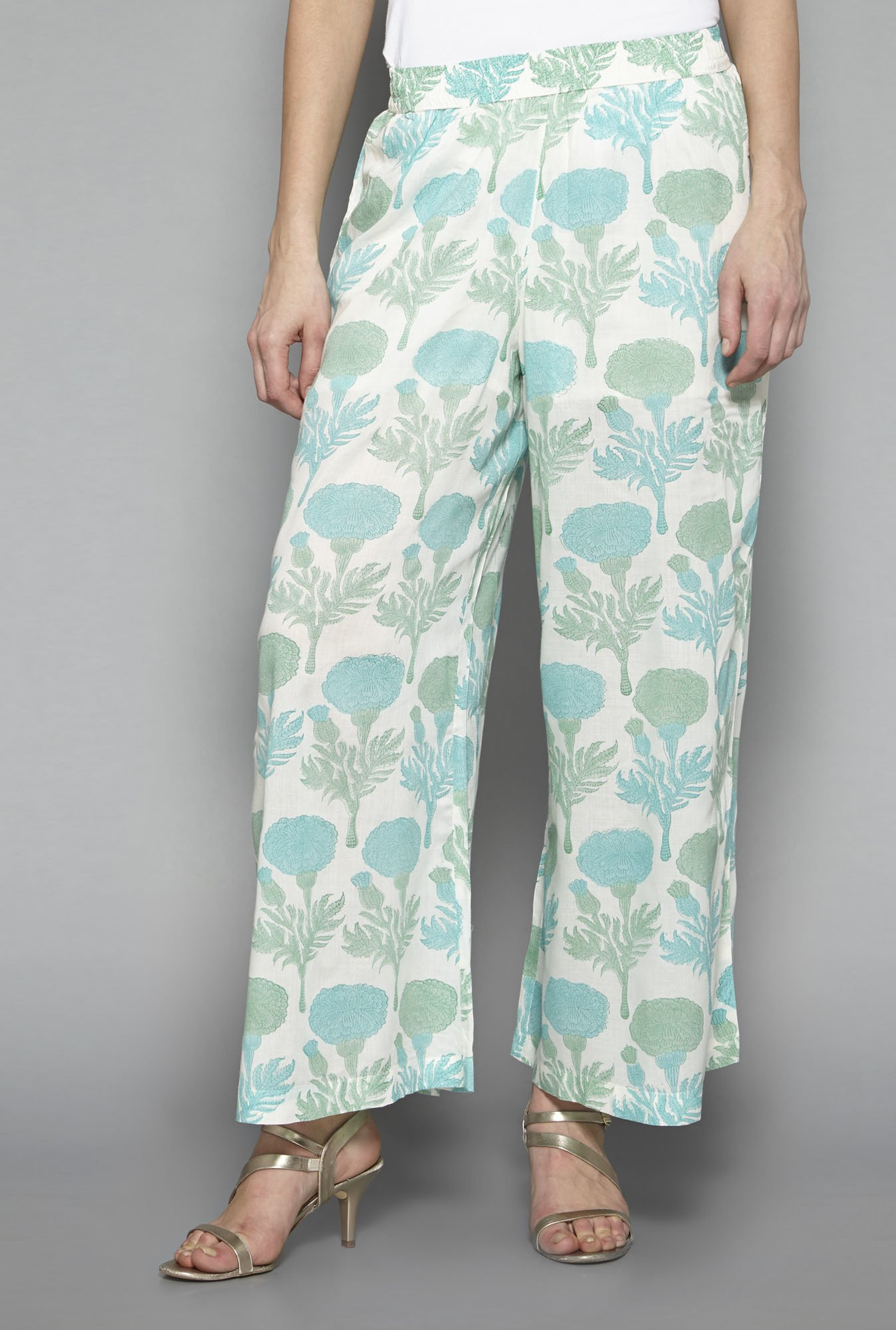 Zuba by Westside Off White Floral Print Palazzos