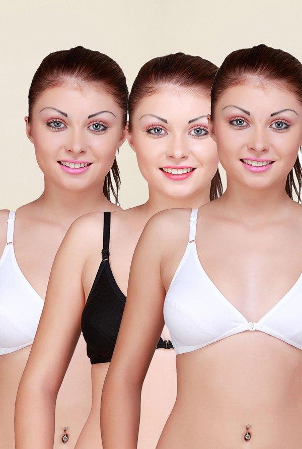 b61fd09cae4e4 Buy Floret White   Black Non Padded Bra (Pack Of 3) for Women Online   Tata  CLiQ