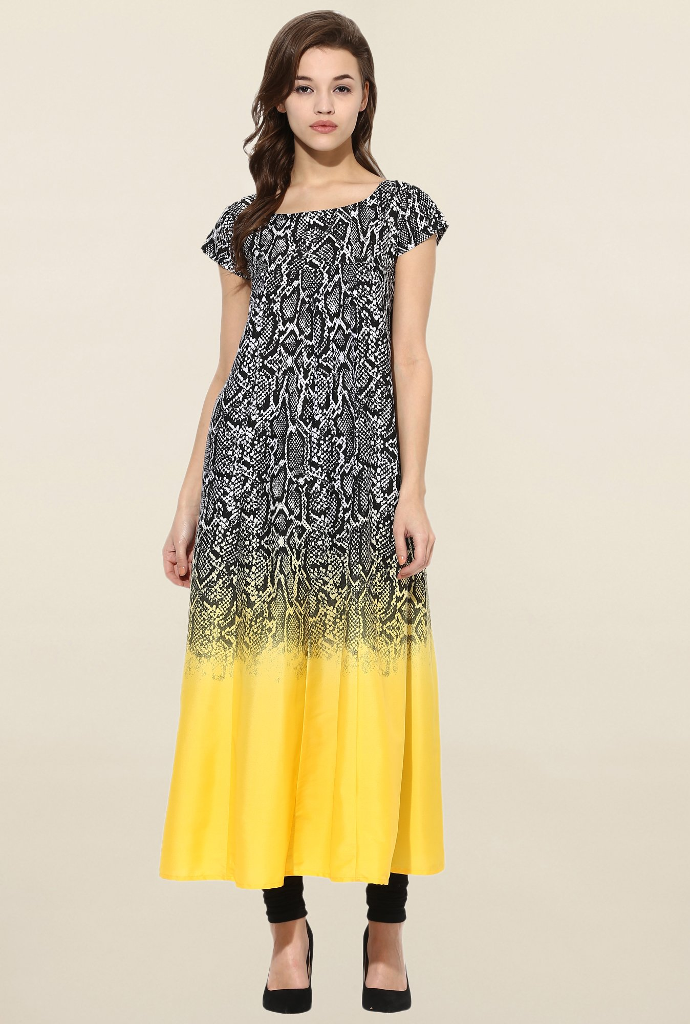 Ahalyaa Black & Yellow Printed Anarkali Kurta