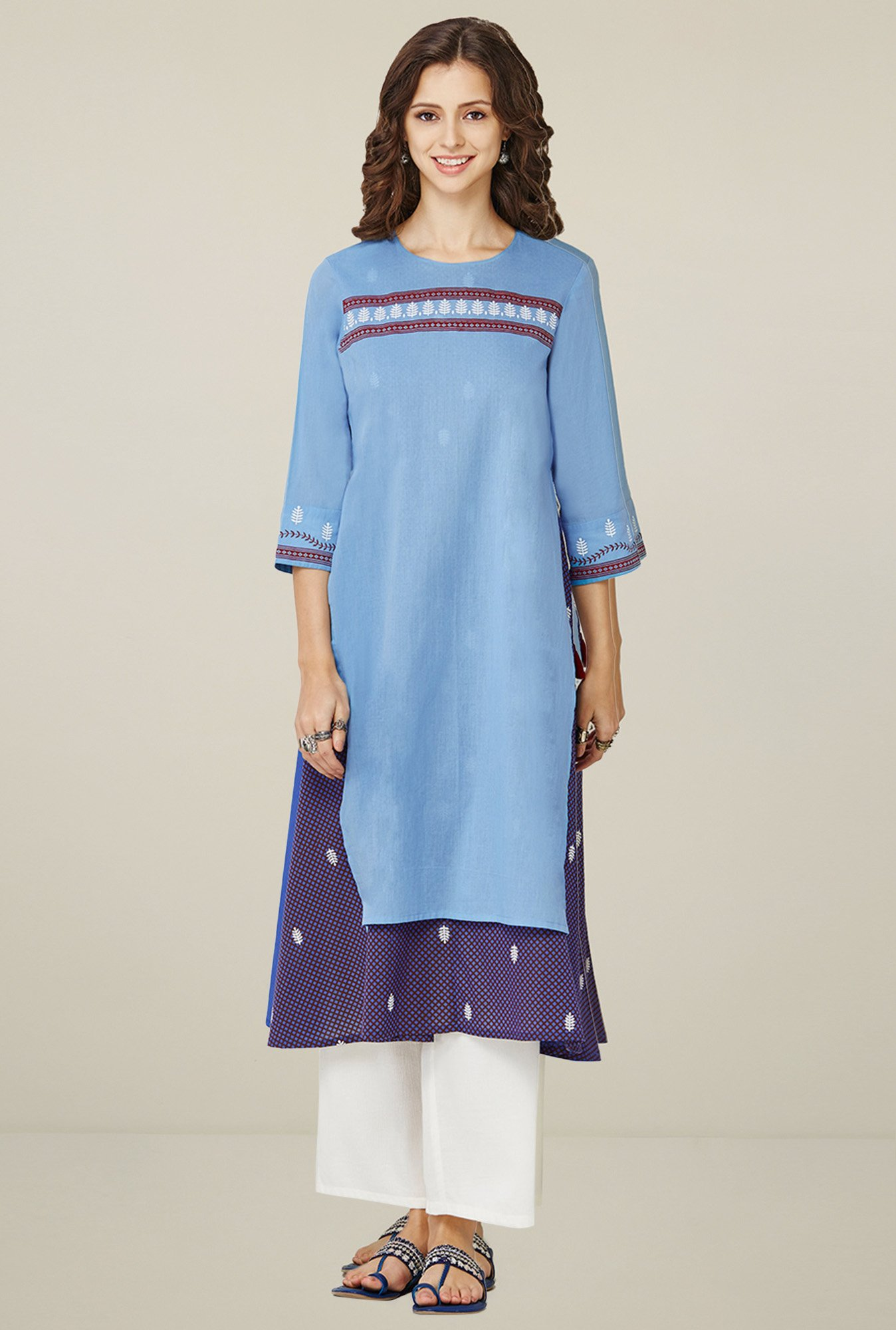 Global Desi Light Blue Round Neck Kurta