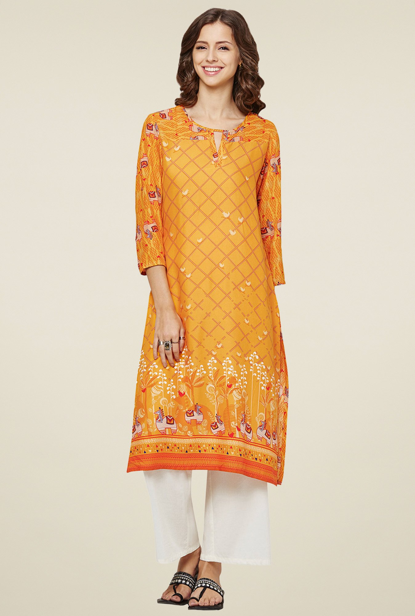 Global Desi Mustard Round Neck Kurta