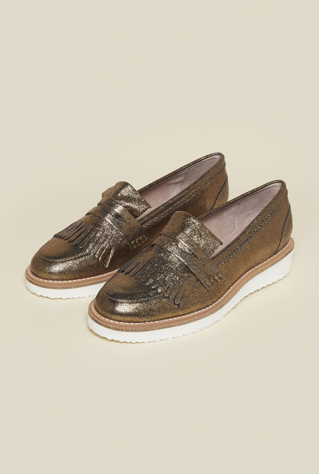 Kurt Geiger Kooper Antique Gold Moccasins
