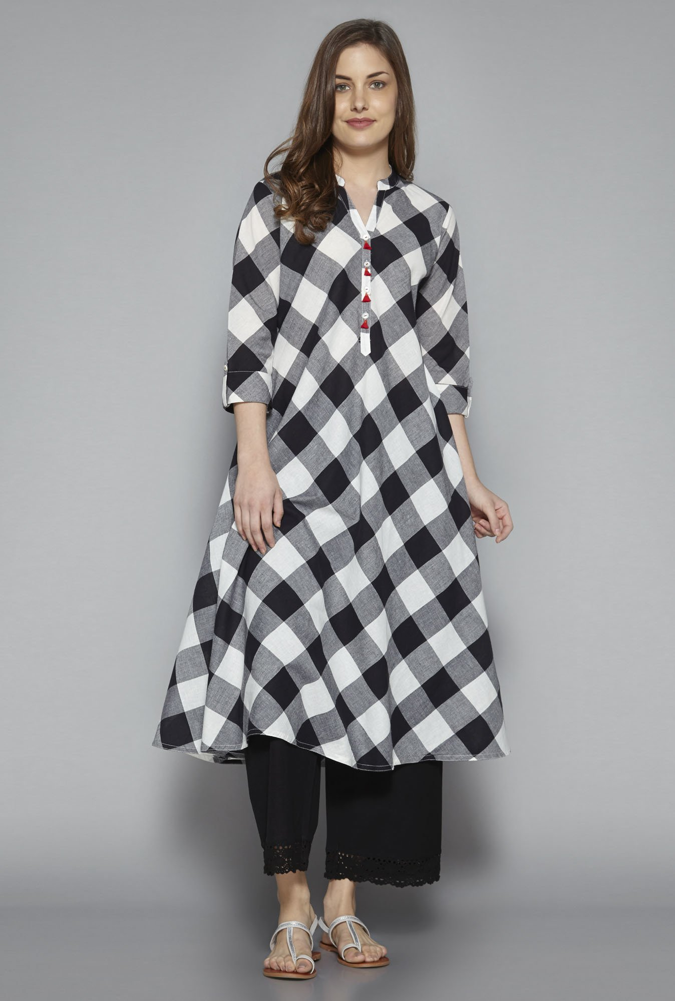 Utsa by Westside Black & White Checks Kurta