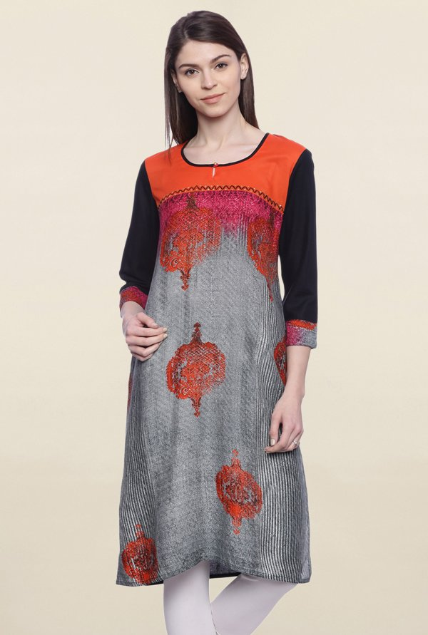 Mytri Grey & Orange Printed Cotton Kurti