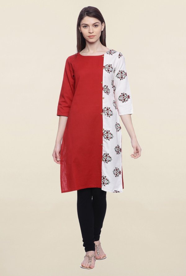 Mytri Red & White Printed Cotton Kurti