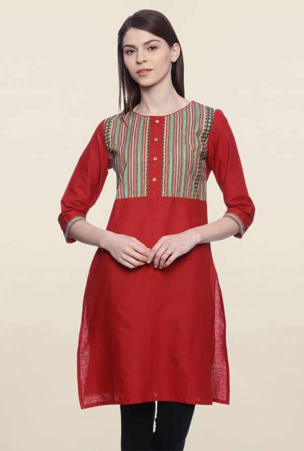 Mytri Red Embroidered Cotton Kurti