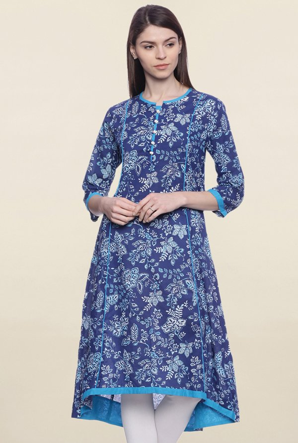 Mytri Dark Blue Printed Other A Line Kurti