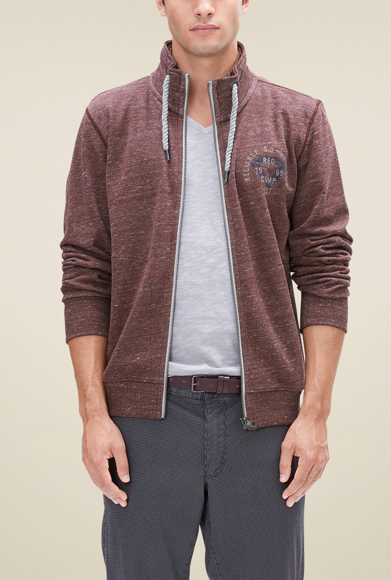 buy s oliver brown high neck sweatshirt for men online tata cliq. Black Bedroom Furniture Sets. Home Design Ideas