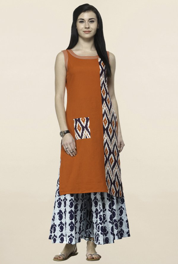 Varanga Orange & Blue Printed Kurta With Palazzo