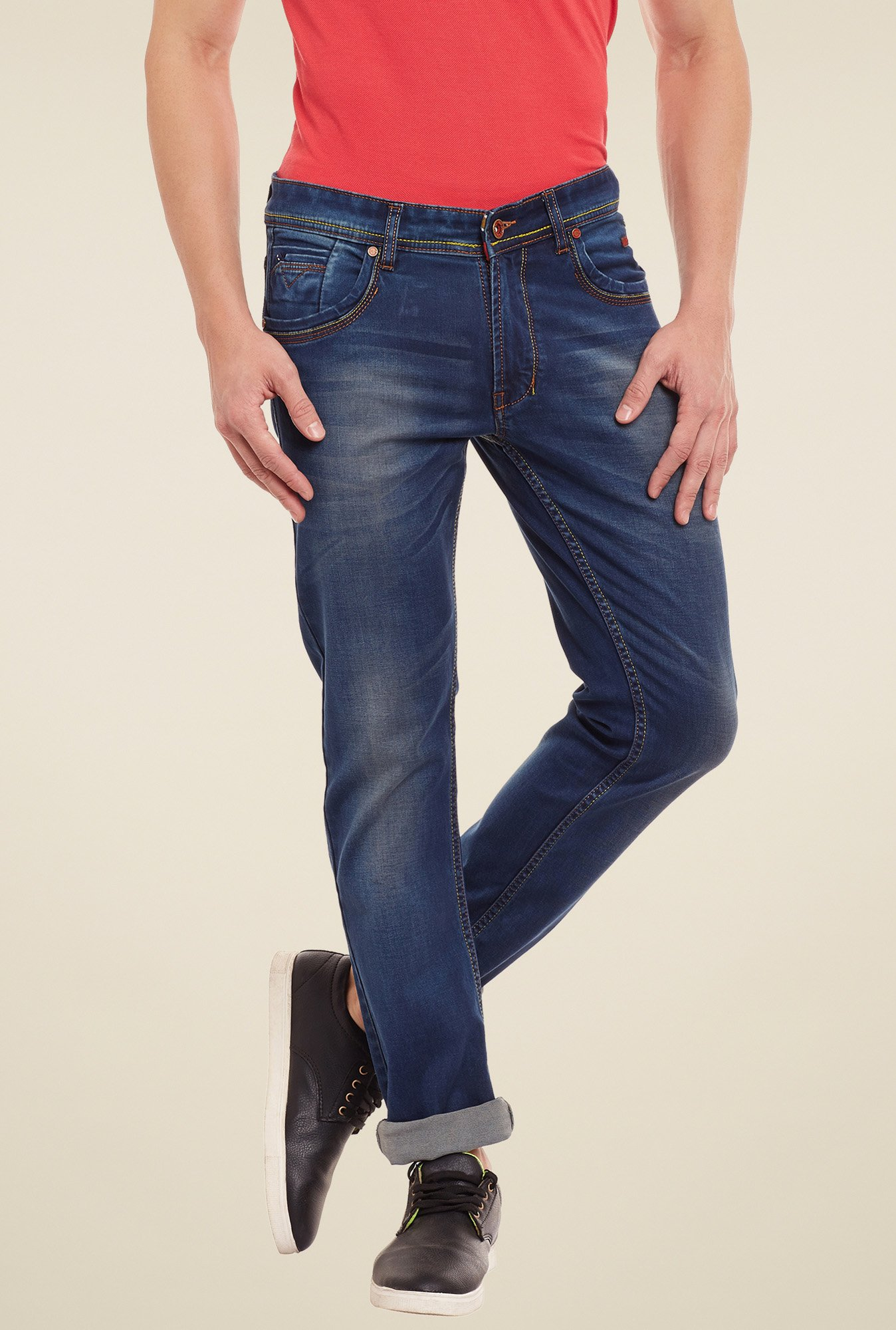 Duke Dark Blue Lightly Washed Mid Rise Jeans