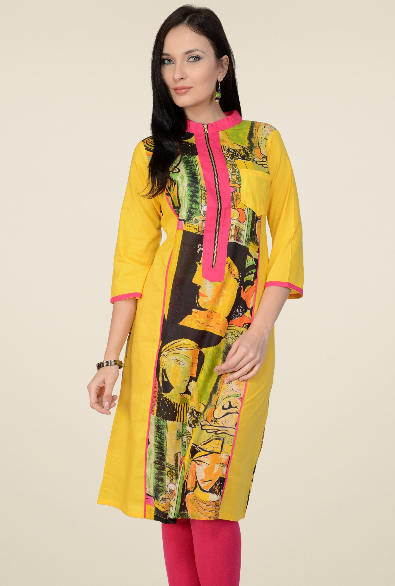 Pannkh Yellow 3/4th Sleeves Printed Kurti