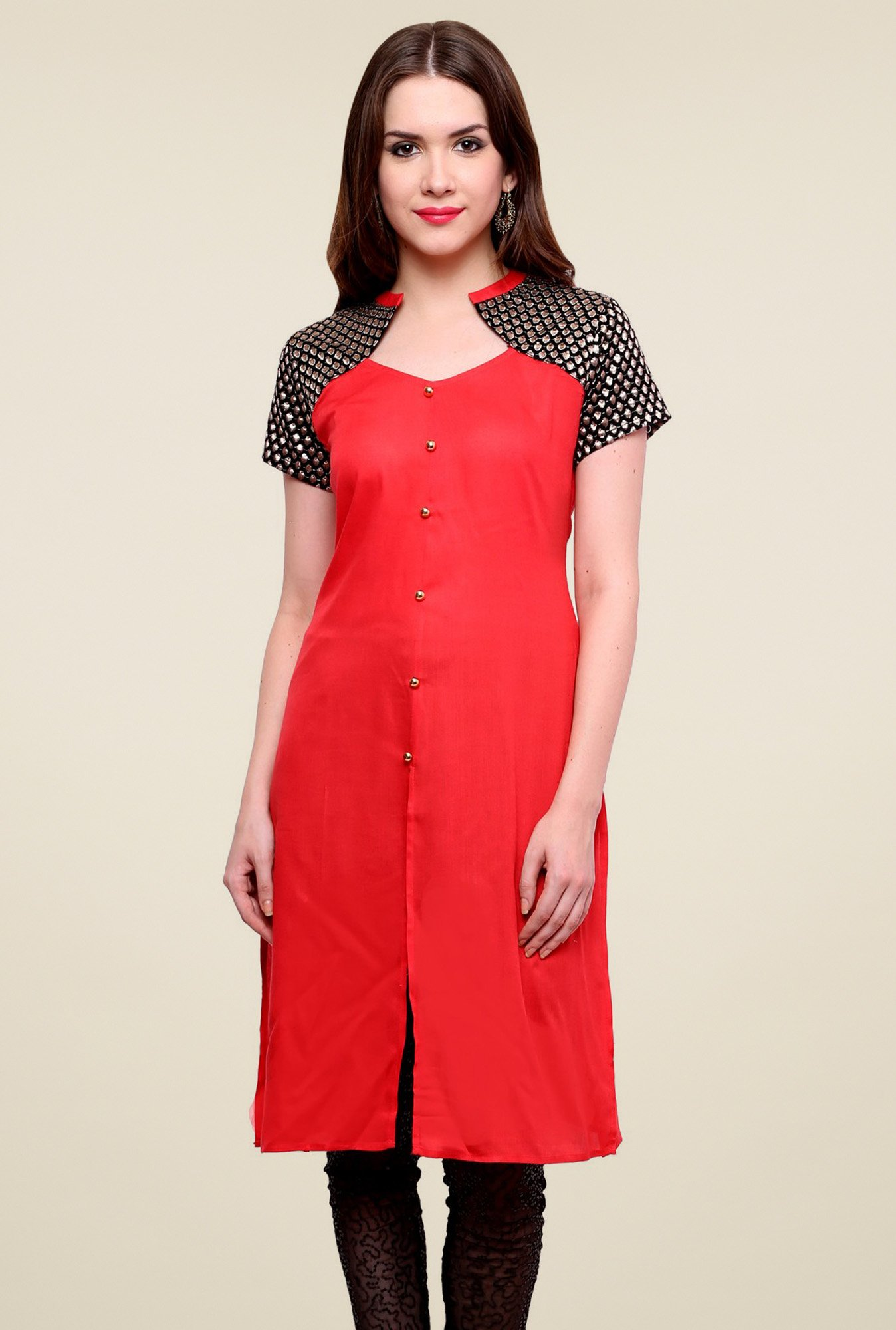 Pannkh Red V-Neck Regular Fit Kurti