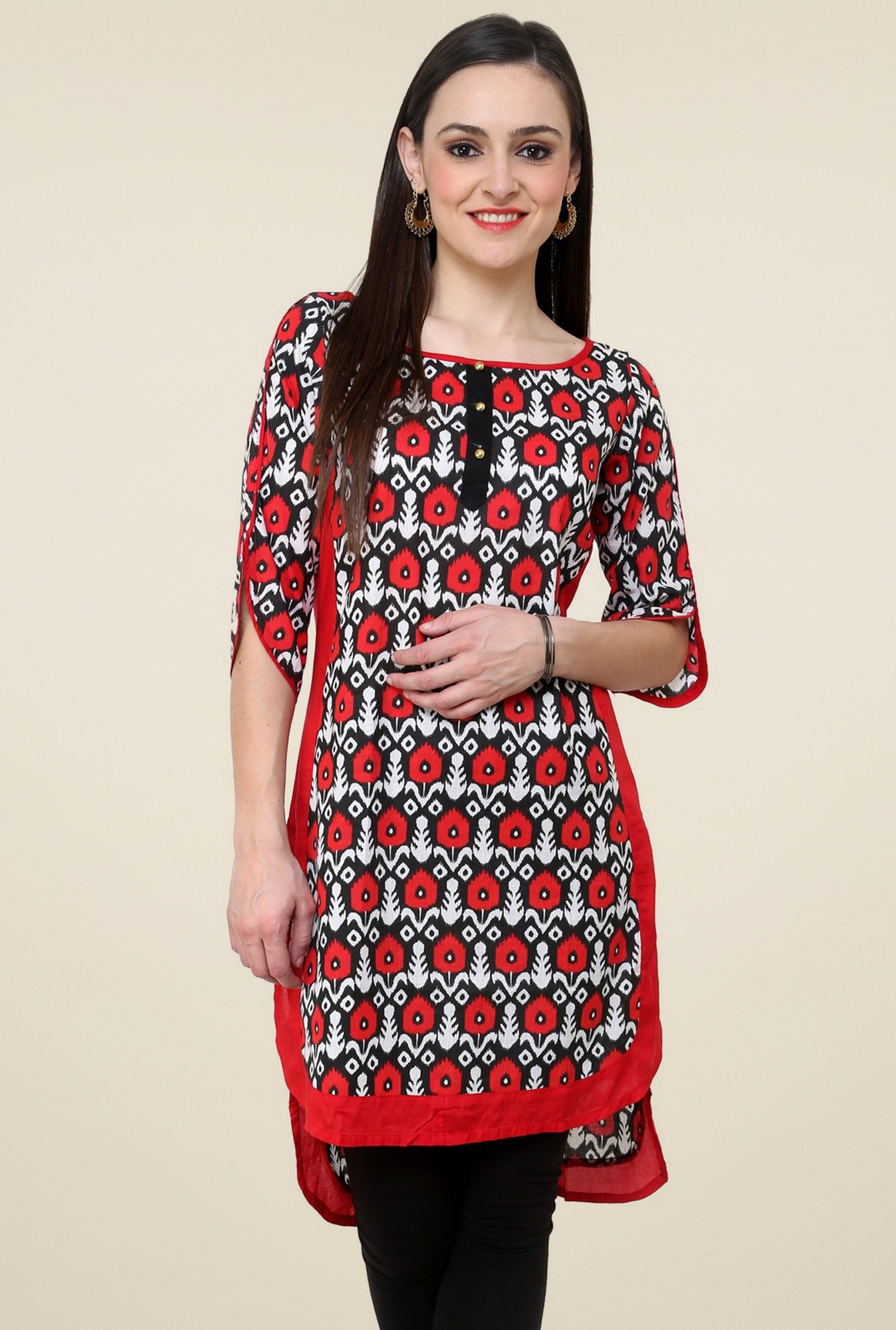 Pannkh Red Regular Fit Cotton Kurti