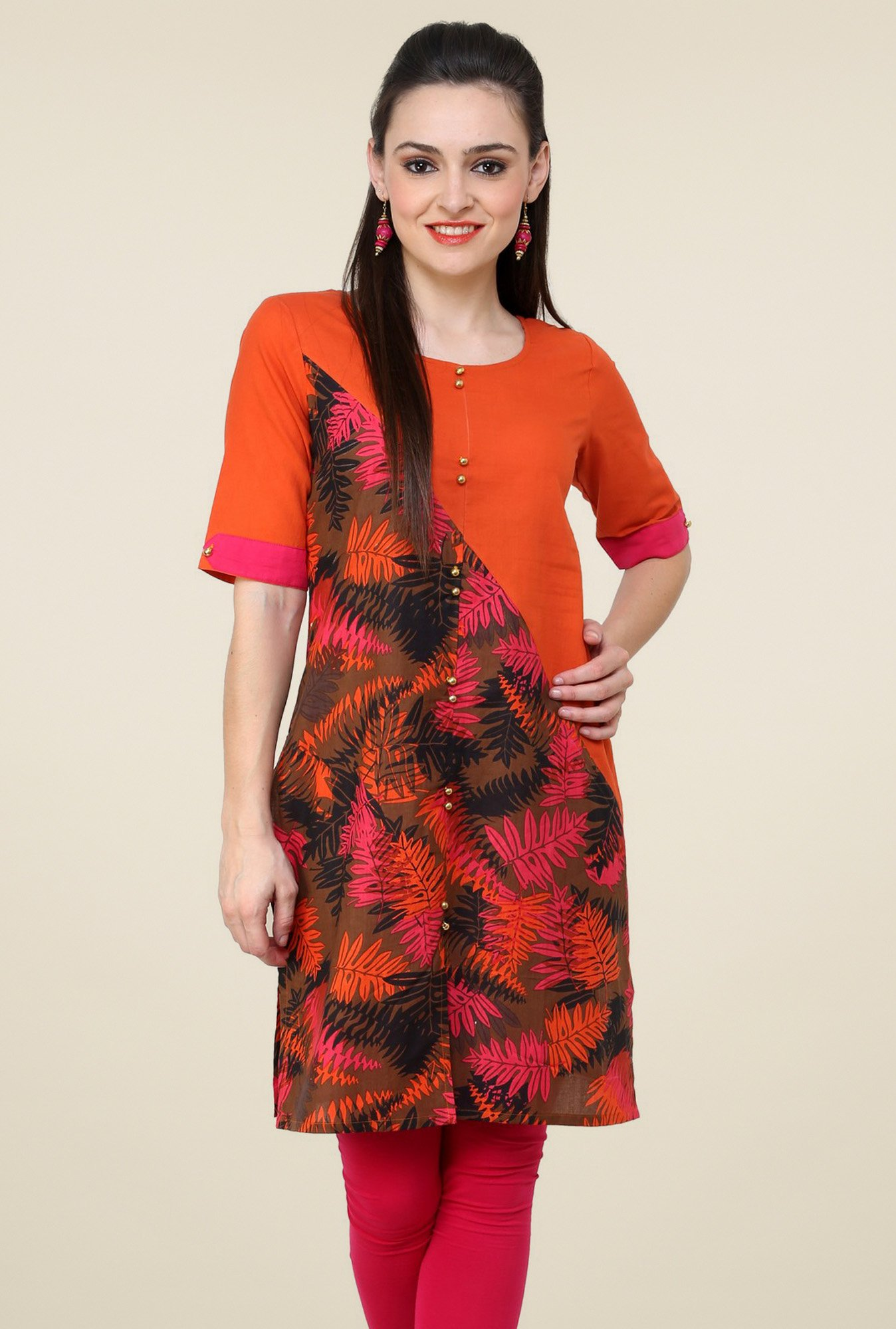 Pannkh Orange Regular Fit Round Neck Kurti