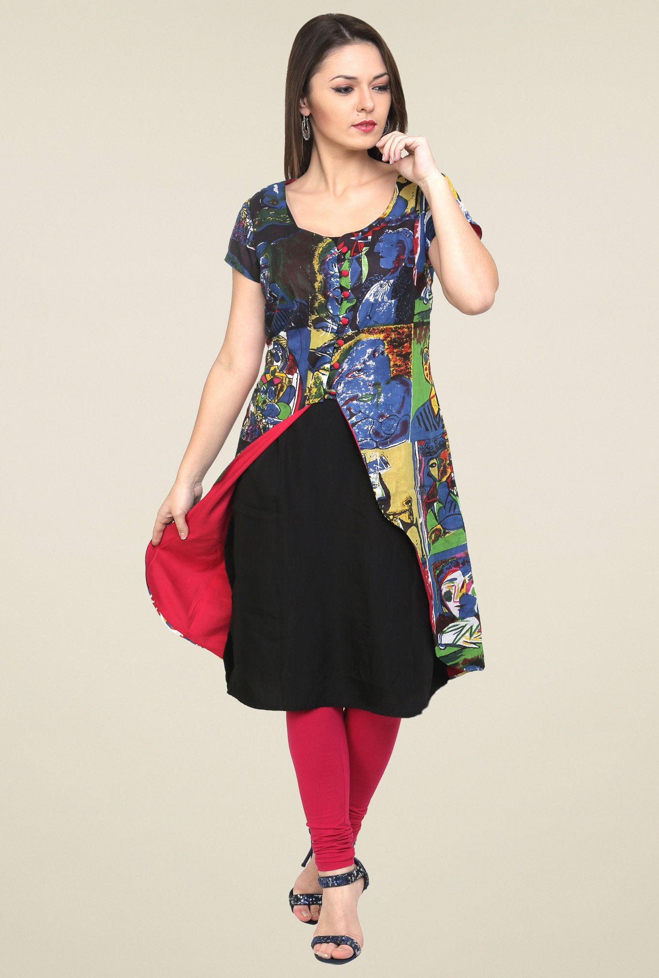 Pannkh Blue & Green Short Sleeves Kurti