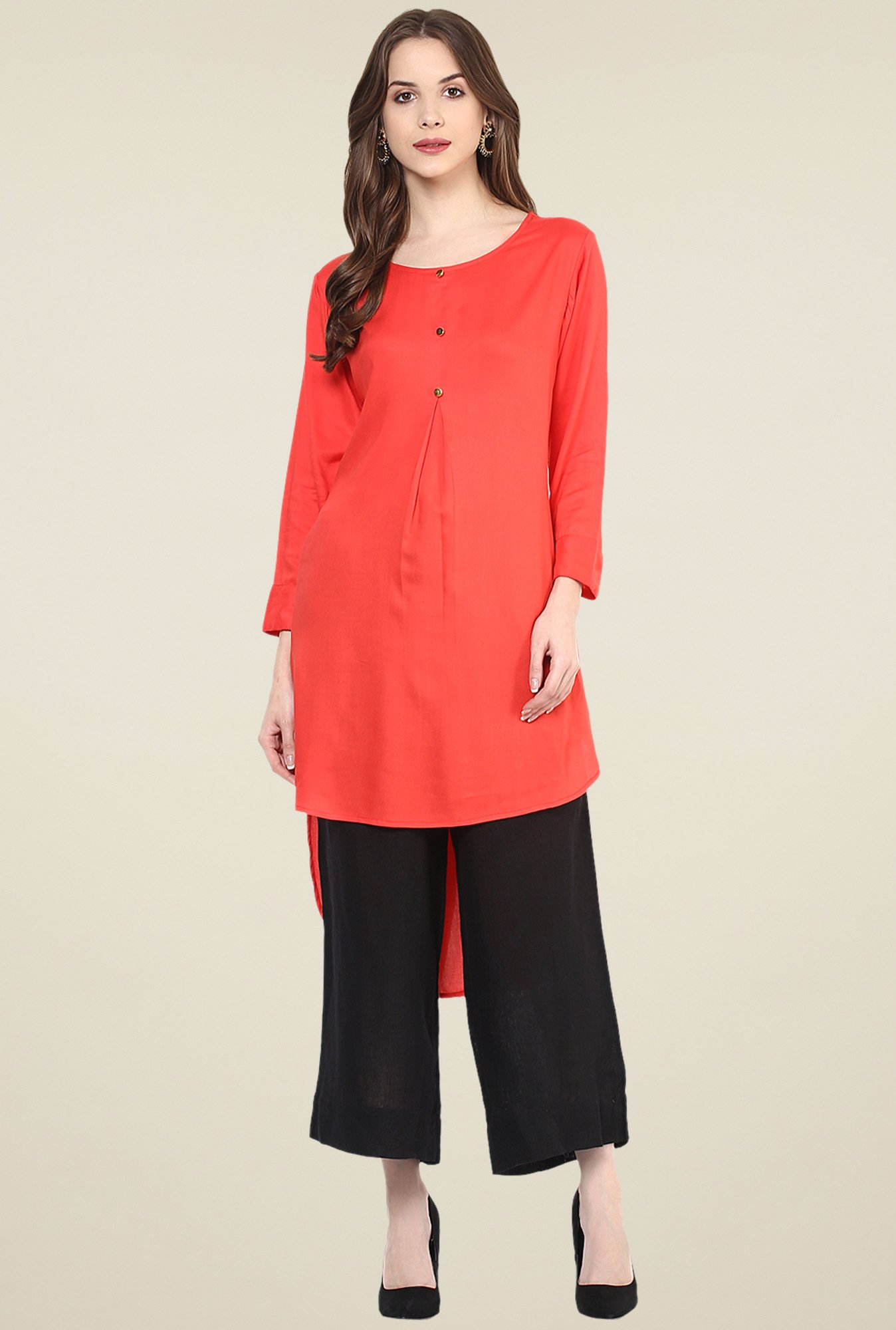 Pannkh Red Round Neck Kurta
