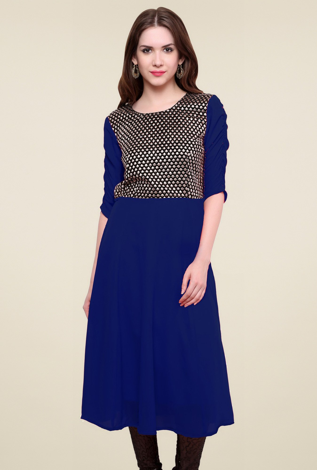 Pannkh Royal Blue Regular Fit Elbow Sleeves Kurti