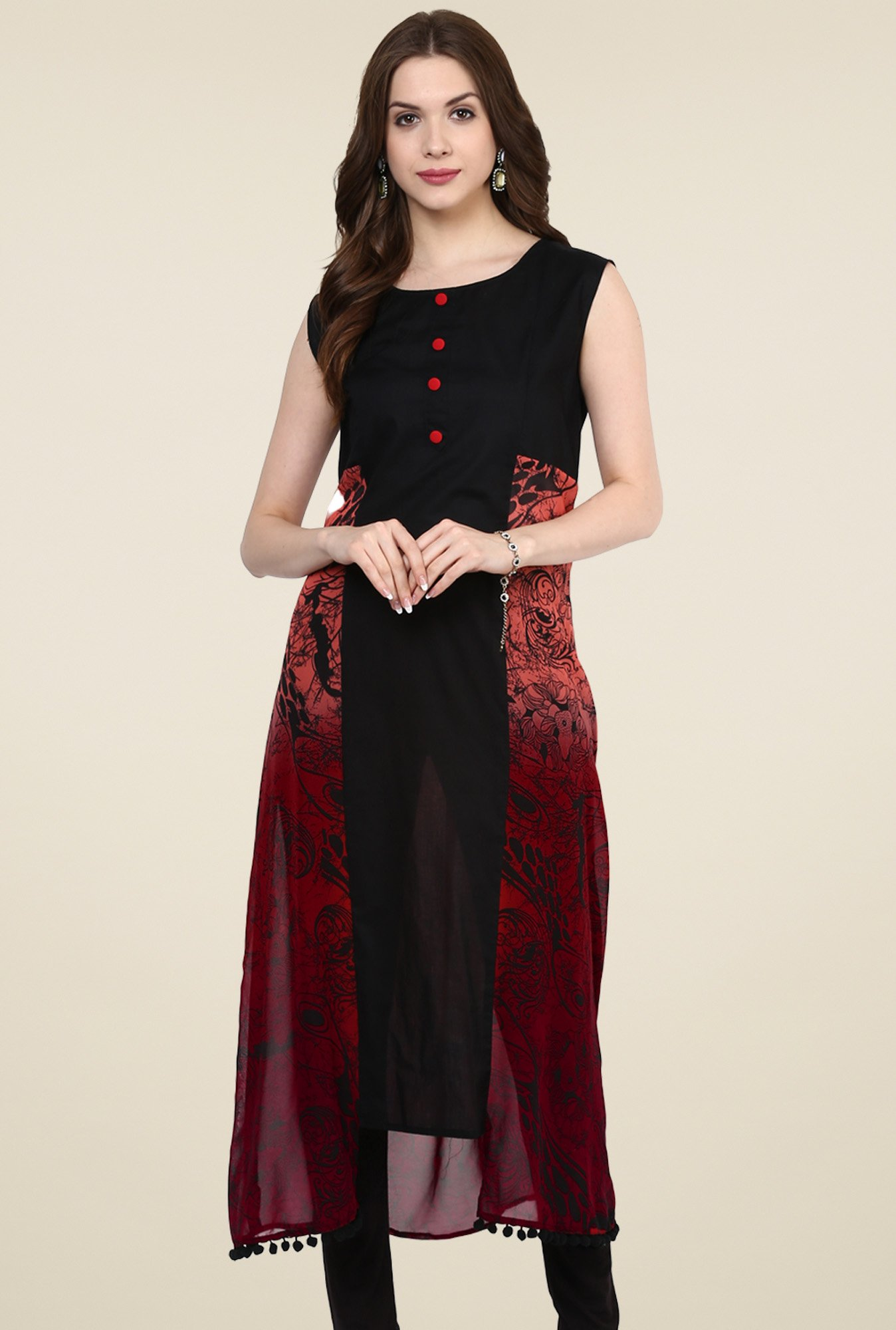 Pannkh Black Cotton Sleeveless Regular Fit Kurti