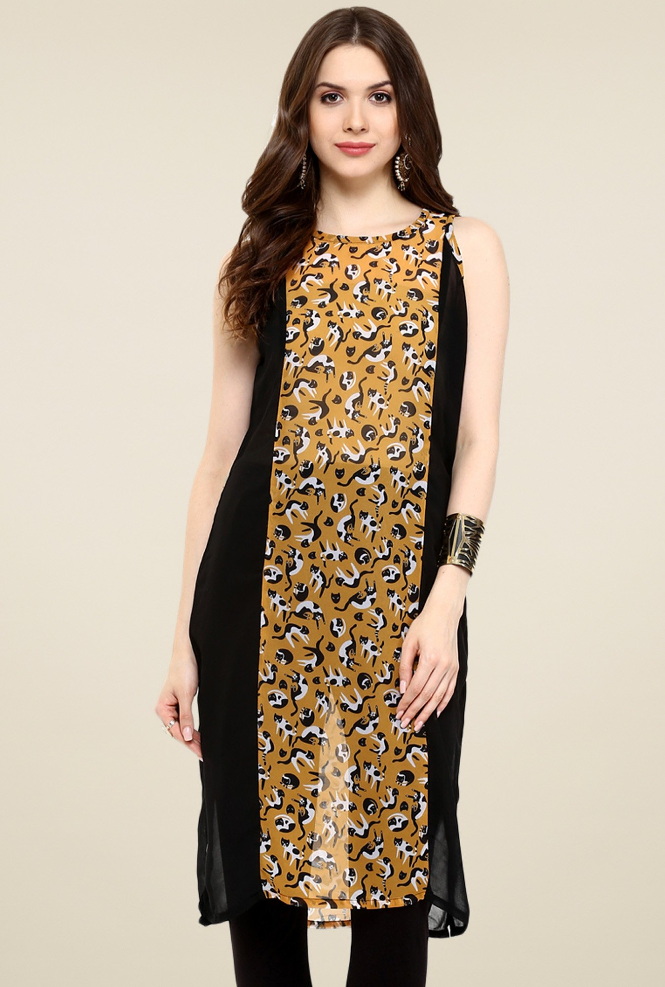 Pannkh Black & Brown Printed Regular Fit Kurti