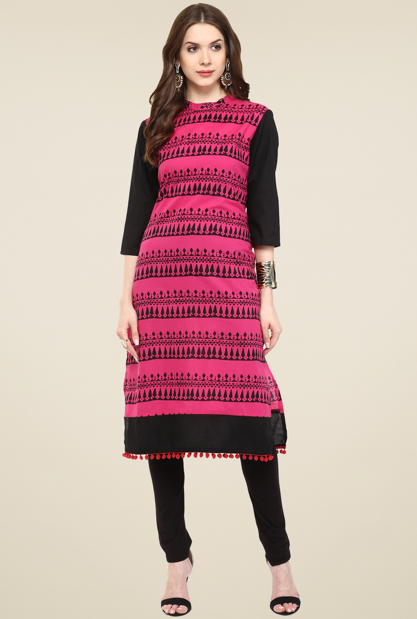 Pannkh Fuchsia & Black 3/4th Sleeves Printed Kurti
