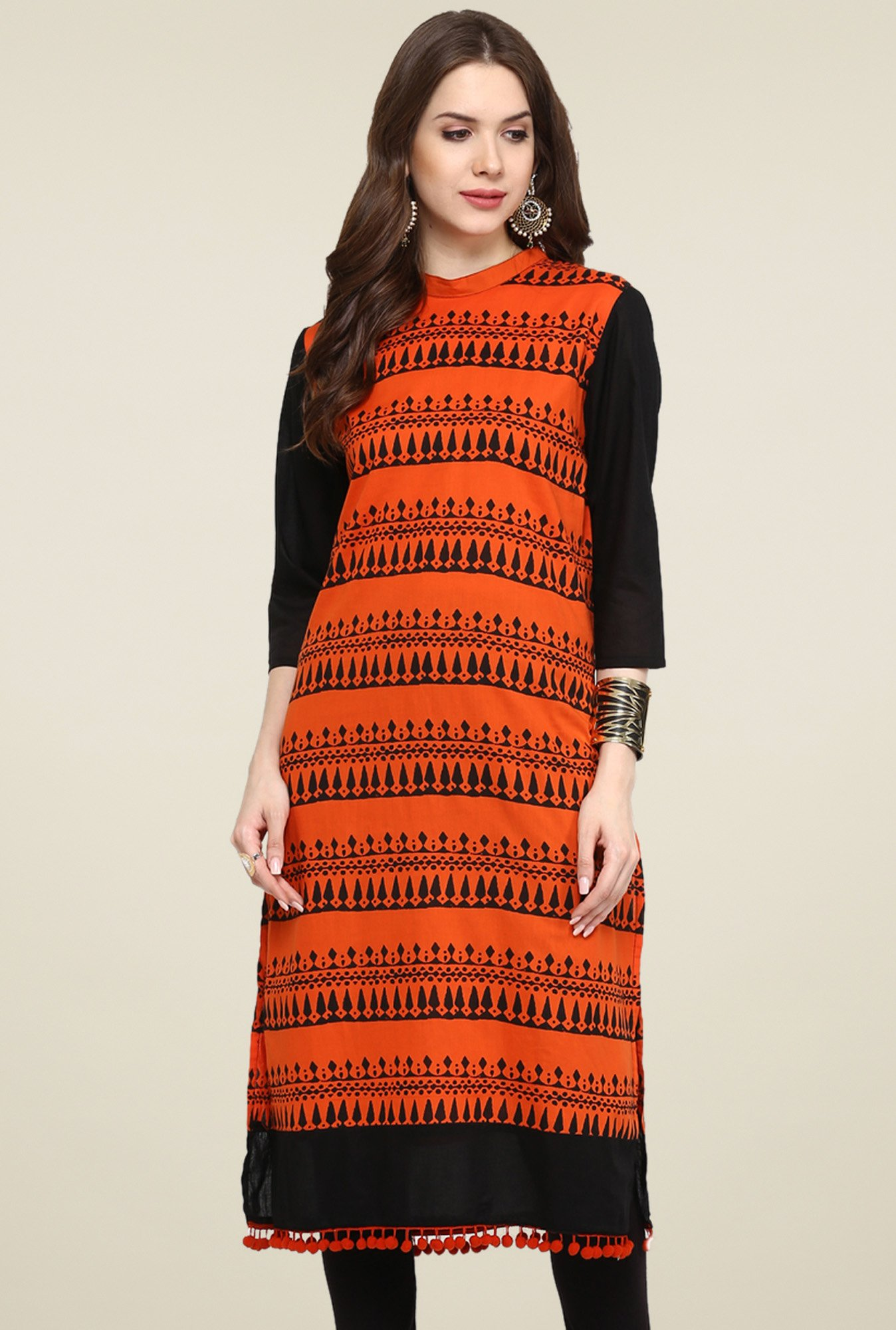 Pannkh Orange & Black 3/4th Sleeves Printed Kurti