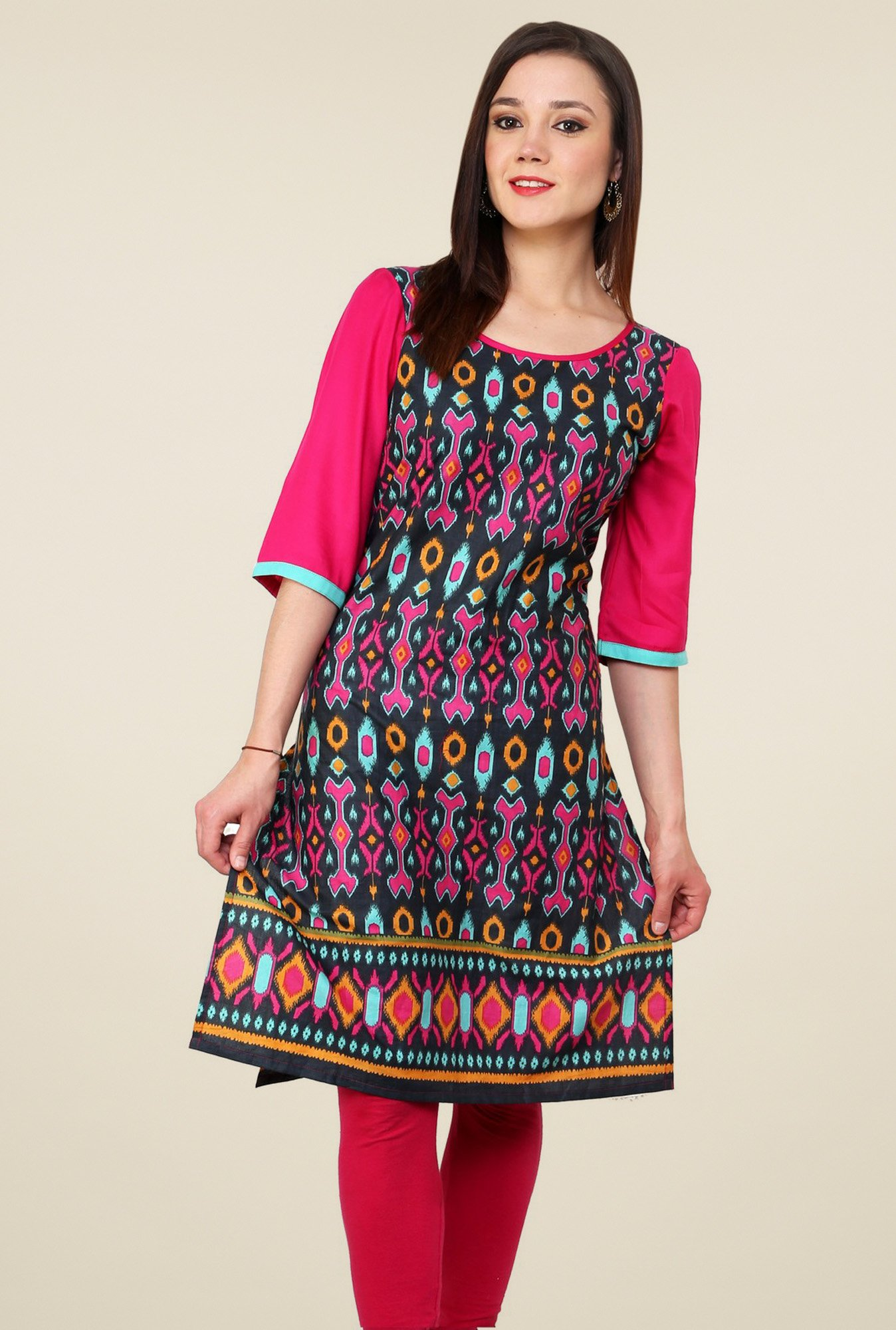Pannkh Pink Cotton Regular Fit Kurti