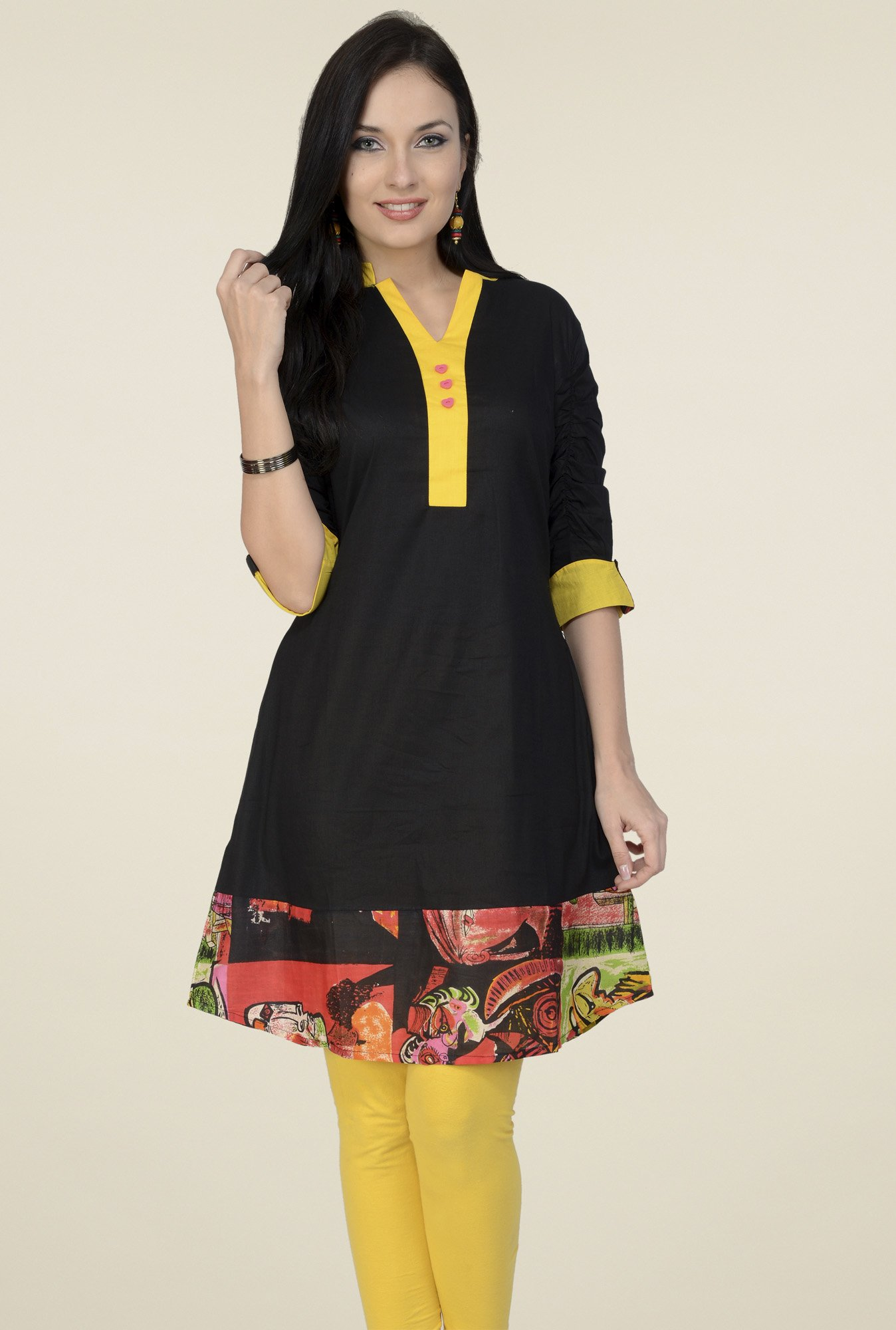 Pannkh Black & Yellow Regular Fit Kurti