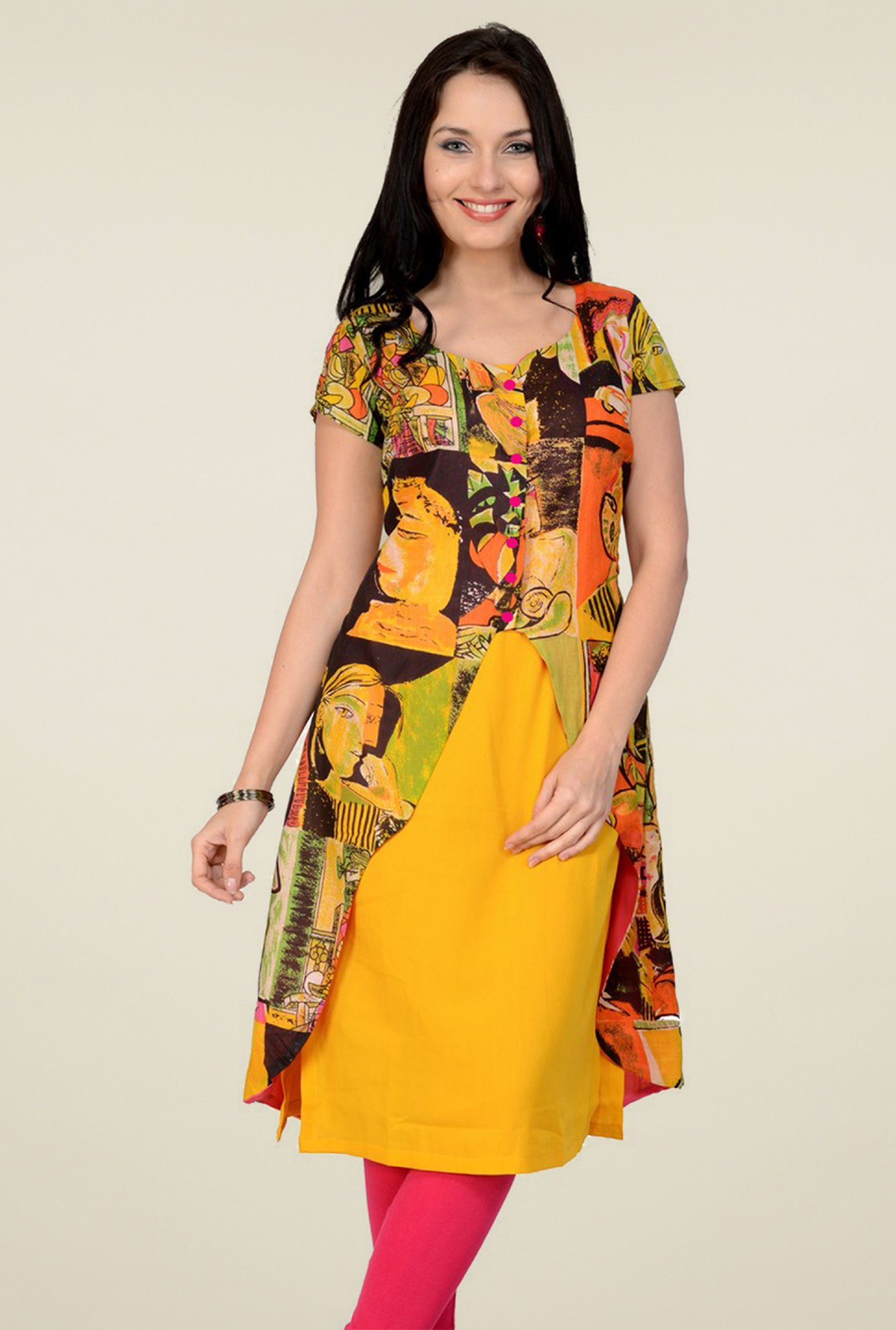 Pannkh Yellow Short Sleeves Cotton Kurti