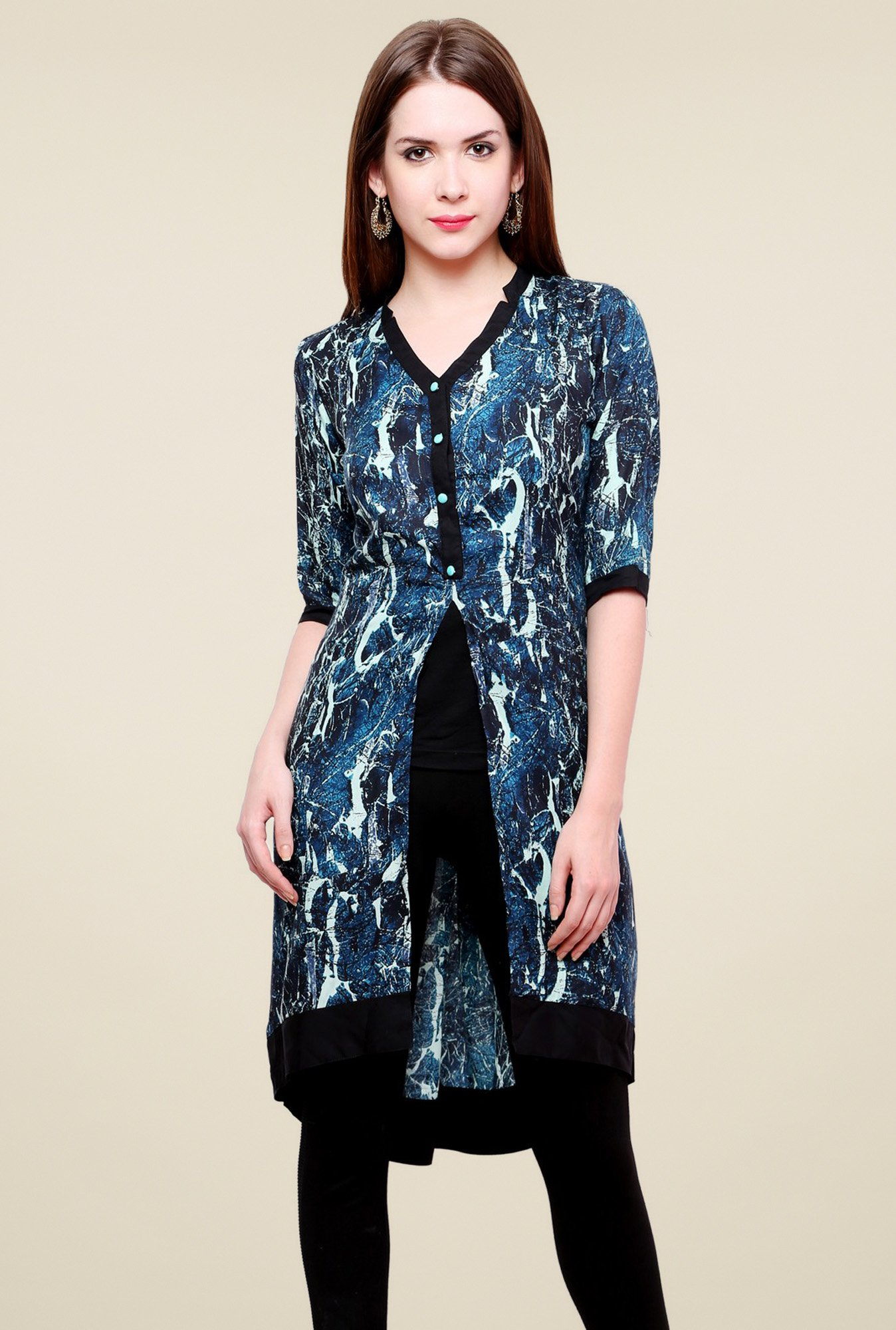 Pannkh Blue Elbow Sleeves Kurti